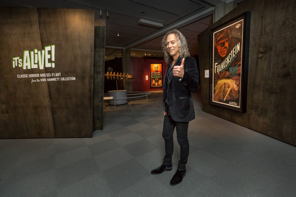 Kirk Hammett shows off his horror poster collection, Peabody Essex Musuem, Salem, Massachusetts
